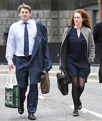 © Licensed to London News Pictures. 18/03/2014. London, UK. Charlie Brooks and Rebekah Brooks arrive at The Old Bailey in London this morning, 18th March 2014 for the continuation of the Phone Hacking Trial.Photo credit : Vickie Flores/LNP