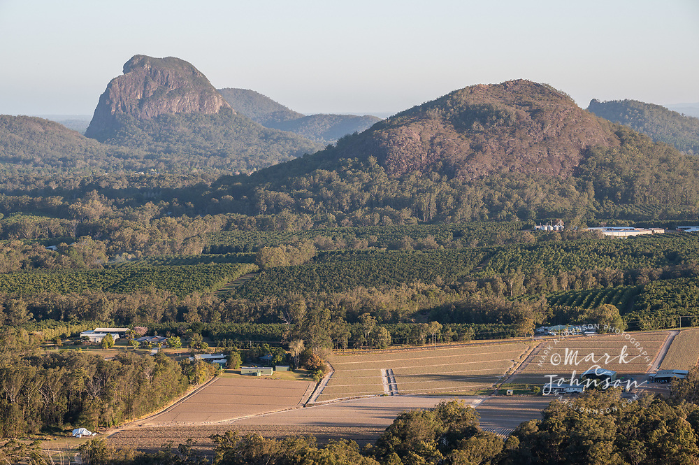 Mt Tibrogargan (l) & Mt Ngungun (right foreground) from Mt Coochin, Glass House Mountains, Sunshine Coast, Queensland, Australia