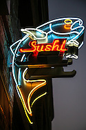 Neon sign at a sushi restaurant in Little Japan i Los Angelos, CA.