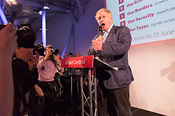 © Licensed to London News Pictures. 04/06/2016. LONDON, UK.  BORIS JOHNSON speaking at a Vote Leave rally at Forman's Fish Island in east London. Vote Leave is the official campaign for a Leave vote (Brexit) in the EU Referendum that will take place in the United Kingdom on the 23rd June 2016.  Photo credit: Vickie Flores/LNP