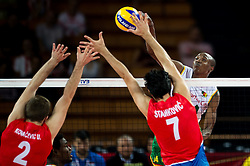 07.09.2014, Centennial Hall, Breslau, POL, FIVB WM, Serbien vs Kamerun, Gruppe A, im Bild Uros Kovacevic serbia #2 Dragan Stankovic serbia #7 Nathan Wounembaina cameroon #14 // Uros Kovacevic serbia #2 Dragan Stankovic serbia #7 Nathan Wounembaina cameroon #14 // during the FIVB Volleyball Men's World Championships Pool A Match beween Serbia and Cameroon at the Centennial Hall in Breslau, Poland on 2014/09/07. <br /> <br /> ***NETHERLANDS ONLY***