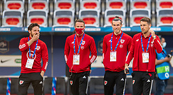 NICE, FRANCE - Wednesday, June 2, 2021: Wales' Joe Allen, Chris Gunter, captain Gareth Bale and Aaron Ramsey inspect the pitch before an international friendly match between France and Wales at the Stade Allianz Riviera ahead of the UEFA Euro 2020 tournament. (Pic by Simone Arveda/Propaganda)