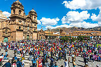Cuzco, Peru - July 12, 2013: people at festival in the Plaza de Armas at Cuzco Peru on july 12th, 2013