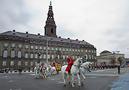 Copenhagen, 06-01-2016<br /> <br /> Queen Margrethe rides back with the Golden Carriage to Amalienborg Palace after the New Years Reception for the officers of the Armed Forces<br /> <br /> Photo; Royalportraits Europe/Bernard Ruebsamen