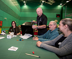 The first postal ballot boxes in the Glenrothes constituency get opened at the Fife counting centre in Glenrothes.<br /> <br /> © Dave Johnston/ EEm