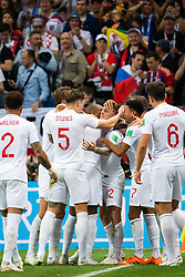 July 11, 2018 - Moscow, Russia - 180711 Kieran Trippier of England celebrates with team mates after scoring 0-1 during the FIFA World Cup semi final match between Croatia and England on July 11, 2018 in Moscow..Photo: Petter Arvidson / BILDBYRÃ…N / kod PA / 92085 (Credit Image: © Petter Arvidson/Bildbyran via ZUMA Press)