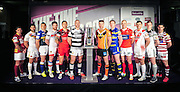 Picture by Simon Wilkinson/SWpix.com - 01/02/2015 - Rugby League - 2015 First Utility Super League Launch - Victoria Warehouse, Manchester, England - The twelve Super League club captains and representatives line-up for a photo to preview the 2015 season, from left, Huddersfield's Danny Brough, Catalans' Mathias Pala, Leeds' Kevin Sinfield, Wakefield's Danny Kirmond, Salford's Harrison Hansen, Hull FC's Gareth Ellis, Castleford's Michael Shenton, Warrington's Joel Monaghan, Hull KR's Terry Campese, St Helens' Jon Wilkin, Widnes' Kevin Brown and Wigan's Matty Smith.