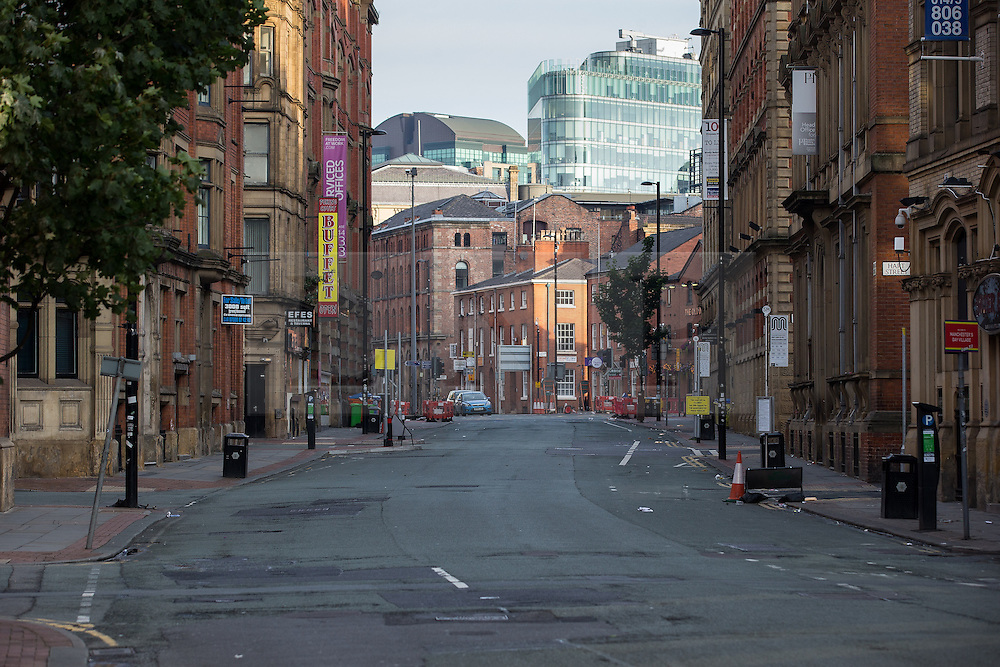 © Licensed to London News Pictures . 23/08/2015 . Manchester , UK . Princess Street , Manchester where , yesterday (22nd August 2015) , a 26 year old motorcyclist died after hitting a wall after losing control of his Yamaha R6 . Photo credit : Joel Goodman/LNP