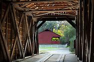 Interiorof the wooden Bridgeport Covered Bridge, South Yuba River State Park, Nevada County, California