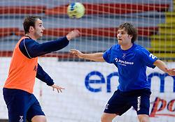 Uros Zorman and Luka Zvizej at practice of Slovenian Handball Men National Team, on June 4, 2009, in Arena Kodeljevo, Ljubljana, Slovenia. (Photo by Vid Ponikvar / Sportida)