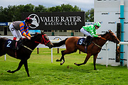 Coronation Cottage ridden by Tom Queally and trained by Mlacolm Saunders in the Best Free Tips At Valuerater.Co.Uk Handicap (Bath Summer Sprint Series Qualifier) (Class 6) race. Ever Rock ridden by Laura Coughlan and trained by J S Moore in the Best Free Tips At Valuerater.Co.Uk Handicap (Bath Summer Sprint Series Qualifier) (Class 6) race. - Ryan Hiscott/JMP - 07/08/2019 - PR - Bath Racecourse - Bath, England - Race Meeting at Bath Racecourse