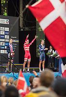 Sykkel VM / UCI 2017 Road worlds championships<br /> 18.09.2017<br /> Bergen , Norway<br /> MCNULTY Brandon , USA (L)<br /> Winner , BJERG Mikkel , Danmark (M)<br /> ERMENAULT Corentin (R)<br /> Foto: Astrid M. Nordhaug