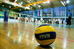 Ball and view on the court during volleyball match between Calcit Kamnik and Nova KBM Branik Maribor in second game of Slovenia National Championship Final, on March 27, 2012 at Sportna Dvorana, Kamnik, Slovenia. (Photo By Matic Klansek Velej / Sportida)