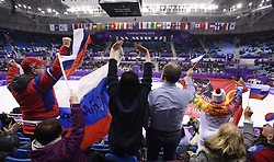 February 8, 2018 - Pyeongchang, South Korea - Russian figure skating fans celebrate Friday, February 9, 2018, after Olympic Athletes of Russia pair VLADIMIR MOROZOV and EVGENIA TARASOVA took the highest score in the Pairs Short Program Team event event on opening day of the Figure Skating Team competition at the Winter Olympic Games in at the Gangneung Ice Arena in Pyeongchang, S. Korea. Photo by Mark Reis, ZUMA Press/The Gazette (Credit Image: © Mark Reis via ZUMA Wire)