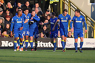 AFC Wimbledon midfielder Dean Parrett (18) celebrating scoring 1-1 during the EFL Sky Bet League 1 match between AFC Wimbledon and Oxford United at the Cherry Red Records Stadium, Kingston, England on 14 January 2017. Photo by Matthew Redman.