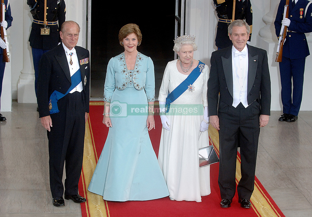 Buckingham Palace has announced Prince Philip, The Duke of Edinburgh, has passed away age 99 - FILE - HRH Queen Elizabeth II, Prince Philip, the Duke of Edinburgh, First Lady Laura Bush and US President George W. Bush arrive for a formal white-tie state dinner at the White House May 7, 2007 in Washington, DC. Queen Elizabeth II and Prince Phillip, the Duke of Edinburgh are on a six day trip to the United States. Photo by Olivier Douliery/ABACAPRESS.COM