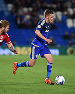 Craig Noone  of Cardiff city in action. Skybet football league championship match, Cardiff city v Middlesbrough at the Cardiff city Stadium in Cardiff, South Wales  on Tuesday 20th October 2015.<br /> pic by  Andrew Orchard, Andrew Orchard sports photography.