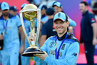 Cricket - 2019 ICC Cricket World Cup - Final: England vs. New Zealand<br /> <br /> England's Eoin Morgan lifts the Words Cup trophy after they defeat New Zealand in a Super Over after the scores were tied, at Lords.<br /> <br /> COLORSPORT/ASHLEY WESTERN
