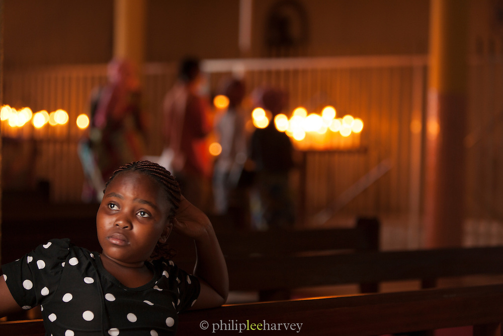 Girl in Cathedral Sacre Cour.