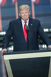 July 21, 2016 - Cleveland, Ohio, U.S.- GOP Presidential candidate DONALD TRUMP accepts the party nomination for president on the final day of the Republican National Convention. (Credit Image: © Richard Ellis via ZUMA Wire)