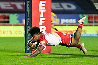 Rugby League - 2020 Betfair Super League - Semi-final - St Helens vs Catalan Dragons - TW Stadium<br /> <br /> St. Helens's Kevin Naiqama goes over for  a try<br /> <br /> COLORSPORT/TERRY DONNELLY