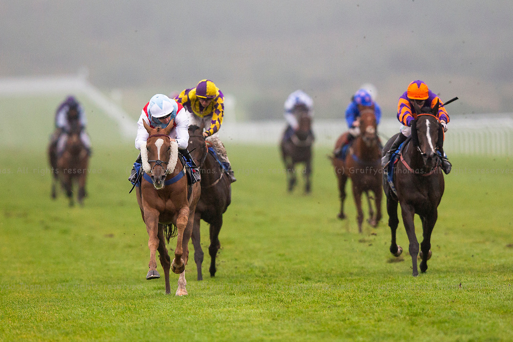 Ffos Las Racecourse, Trimsaran, Wales, UK. Sunday 16 September 2018. Ascot Day (jockey Martin Harley) (L) on the way to winning the westwalesproperties.co.uk Handicap (Race 8) ahaed of Rollana (Luke Morris) (R)