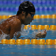 Kosuke Hagino, Japan, in action during the Men's 400m Individual Medley during the swimming heats at the Aquatic Centre at Olympic Park, Stratford during the London 2012 Olympic games. London, UK. 28th July 2012. Photo Tim Clayton