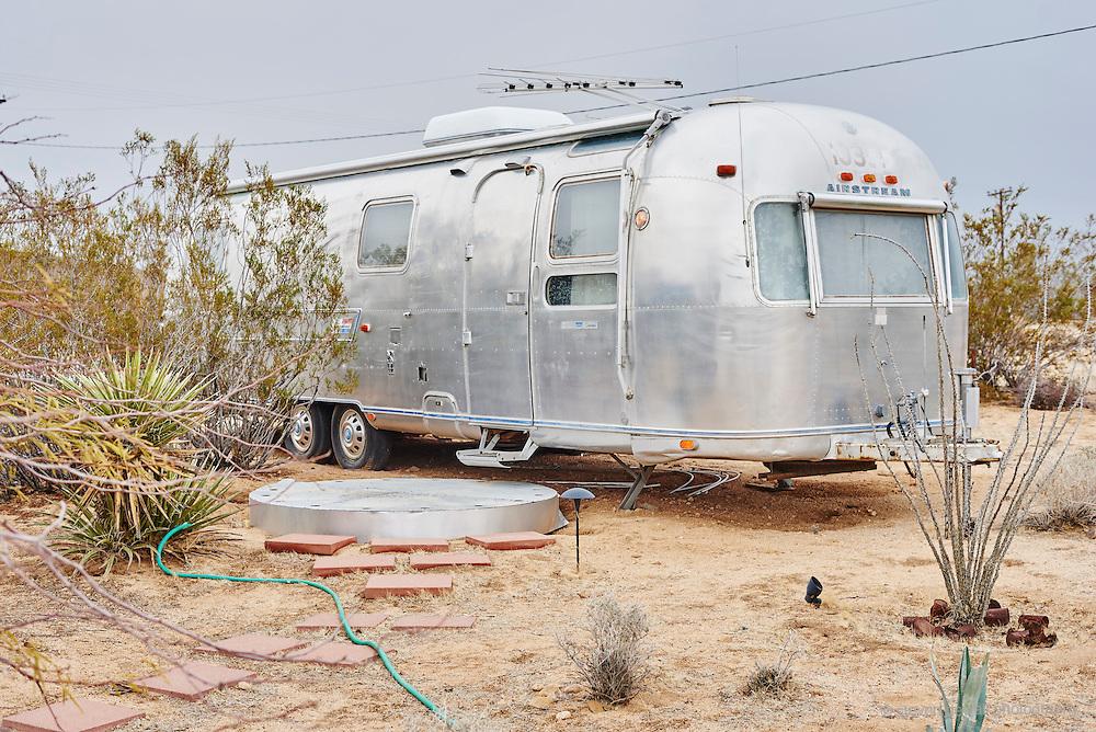 Airstream camper in Joshua Tree, CA.