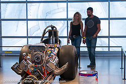 One of Big Daddy Don Garlit's front-engined slingshot rail dragsters, on display in Drag Racing: America's Fast Time exhibition at the Harley-Davidson Museum during the Milwaukee Rally. Milwaukee, WI, USA. Saturday, September 3, 2016. Photography ©2016 Michael Lichter.