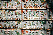 """SHOT 7/08/2007 - Old Colorado license plates featuring a downhill skier adorn the side of a home in Crested Butte, Colo. Often called """"the last great Colorado ski town"""", Crested Butte is a small resort town located in Gunnison County in the U.S. state of Colorado. A former coal mining hub, Crested Butte is now a destination for skiing, mountain biking, and a variety of other outdoor activities. The Colorado state legislature has designated Crested Butte the wildflower capital of Colorado..(Photo by Marc Piscotty / © 2007)"""