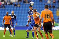 Cardiff City's Peter Whittingham (c) heads clear. Skybet football league championship match, Cardiff city v Wolverhampton Wanderers at the Cardiff city stadium in Cardiff, South Wales on Saturday 22nd August 2015.<br /> pic by Carl Robertson, Andrew Orchard sports photography.
