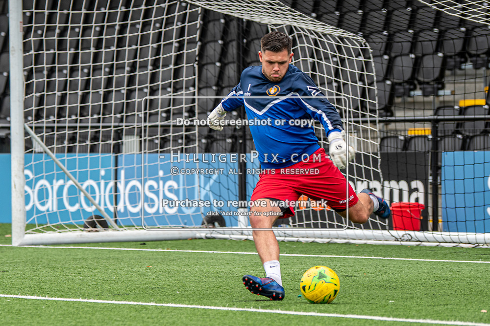 BROMLEY, UK - SEPTEMBER 22: Lewis Carey, of Cray Wanderers FC, before the Emirates FA Cup Second Round Qualifier match between Cray Wanderers and Soham Town Rangers at Hayes Lane on September 22, 2019 in Bromley, UK. <br /> (Photo: Jon Hilliger)