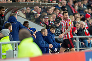 Chris Maguire (#7) of Sunderland AFC walks up the tunnel after being shown a red card during the EFL Sky Bet League 1 match between Sunderland AFC and Luton Town at the Stadium Of Light, Sunderland, England on 12 January 2019.