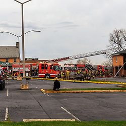 Lancaster, PA, USA- April 14, 2015: A fire truck at the scene of a motel fire.