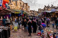 Street market on El Wad Road in the  Old City, Jerusalem, Israel.