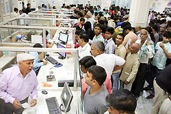 November 13, 2016 - Allahabad, Uttar Pradesh, India - People stand on long queue for exchange Rupees 500 and 1000 notes PM Narendra Modi ordered ban Rupees 500 and 1000 notes as NDA Government fights against black money and corruption at Bank branch. (Credit Image: © Amar Deep/Pacific Press via ZUMA Wire)