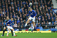 Tom Davies of Everton heads the ball. Premier league match, Everton v West Bromwich Albion at Goodison Park in Liverpool, Merseyside on Saturday 11th March 2017.<br /> pic by Chris Stading, Andrew Orchard sports photography.