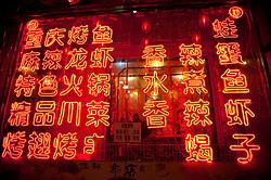 Neon signs  at night  illuminating menu at Chinese restaurant in Beijing China