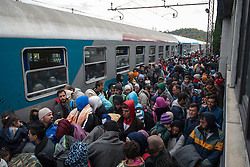 Licensed to London News Pictures. 22/10/2015. Sentilj, Slovenia. 1500 migrants is arriving at the train station in Sentilj. Photo: Marko Vanovsek/LNP