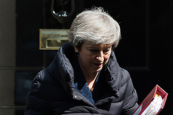 May 1, 2019 - London, England, United Kingdom - British Prime Minister Theresa May leaves 10 Downing Street for the weekly PMQ session in the House of Commons on 01 May, 2019 in London, England. (Credit Image: © Wiktor Szymanowicz/NurPhoto via ZUMA Press)