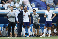 (L-R) coach Gareth Southgate of England, Fabian Delph of England, Jamie Vardy of England during the 2018 FIFA World Cup Russia group G match between England and Panama at the Nizhny Novgorod stadium on June 24, 2018 in Nizhny Novgorod, Russia