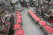 Containers of ground meat are lined up for processing at the Rochester Meat Company, where meat grinder Kelvin Lester works, in Rochester, Minnesota. (Kelvin Lester is featured in the book What I Eat: Around the World in 80 Diets.)