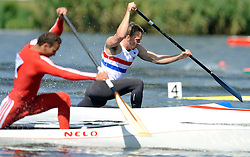 RICHARD JEFFRIES (GREAT BRITAIN) COMPETES IN MEN'S C1 200 METERS QUALIFICATION RACE DURING 2010 ICF KAYAK SPRINT WORLD CHAMPIONSHIPS ON MALTA LAKE IN POZNAN, POLAND...POLAND , POZNAN , AUGUST 21, 2010..( PHOTO BY ADAM NURKIEWICZ / MEDIASPORT ).