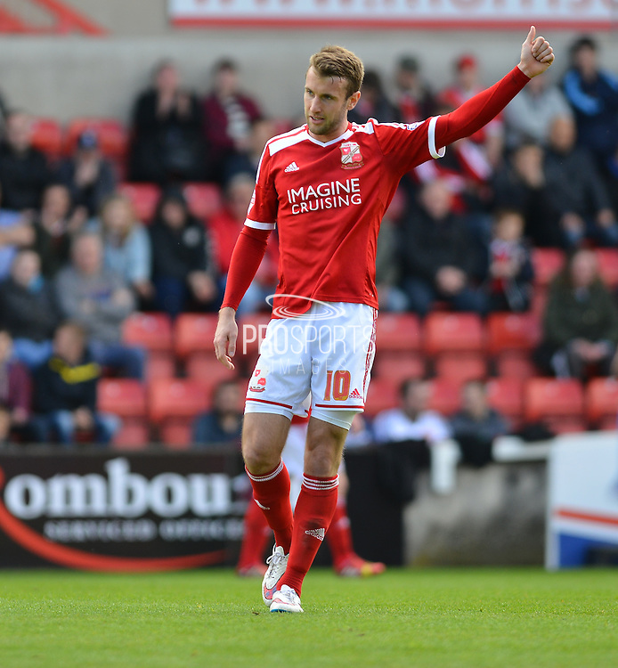 Swindon Town's Andy Williams during the Sky Bet League 1 match between Swindon Town and Leyton Orient at the County Ground, Swindon, England on 3 May 2015. Photo by Mark Davies.