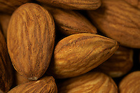 Close up or raw almonds.