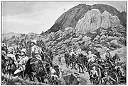 British troops going to the attack on Spion Kop, 24 January. After drawing by R. Caton Woodville. 2nd Boer War 1899-1902.
