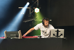 © Licensed to London News Pictures. 27/06/2015. Pilton, UK.  Todd Terje and the Olsens performing at Glastonbury Festival 2015 on Saturday Day 4 of the festival on the West Holts stage.  This years headline acts include Kanye West, The Who and Florence and the Machine, the latter being upgraded in the bill to replace original headline act Foo Fighters. Photo credit: Richard Isaac/LNP