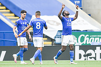 LEICESTER, ENGLAND - JULY 04: Kelechi celebrates after scoring his sides first goal during the Premier League match between Leicester City and Crystal Palace at The King Power Stadium on July 4, 2020 in Leicester, United Kingdom. Football Stadiums around Europe remain empty due to the Coronavirus Pandemic as Government social distancing laws prohibit fans inside venues resulting in all fixtures being played behind closed doors. (Photo by MB Media)