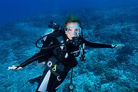 Sylvia Earle posing on reef in Seychelles