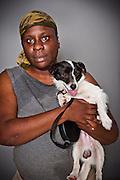 Kendra Jones with her terrier dog, Max.